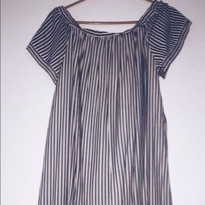 Grey and white striped off the shoulder dress